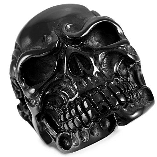 MunkiMix Acciaio Inossidabile Anello Anelli Nero Cranio Teschio Osso Dimensioni 20 Uomo