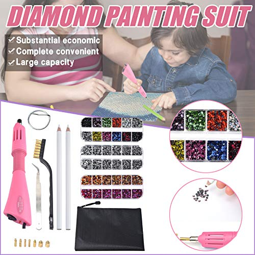 Youyu77 Diamon Painting Suit Tools,Rhinestone Embellishment Tool Set,7-in-1 Drill Point Drill Pen Set 12 Boxed Hot Melt Adhesive DIY Jewelry Handmake Tools