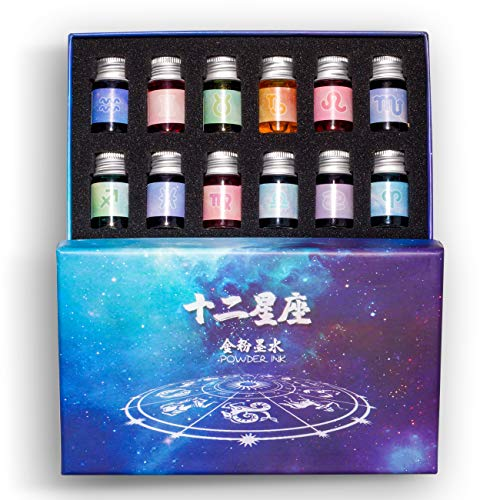 12 Colors Calligraphy Ink Set, Calligraphy Fountain Glass Dip Pen Color Ink Caligrapher Pen Ink Bottle Set, Gold Powder Drawing Writing Art Ink with Gift Box