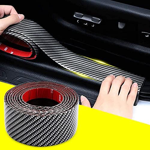 QBUC Auto Einstiegsleisten Aufkleber Kantenschutz,Kratzfeste Aufkleber für Autostoßstangen,Passend für die meisten Autos Kohlefaser Dekoration(5CM*2.5M)