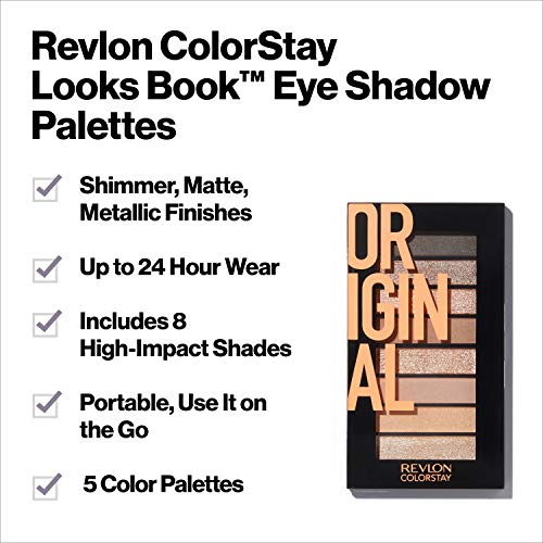 Revlon ColorStay Looks Book Eyeshadow Palette, Longwear Vibrant Eye Colors in Mix of Shimmer, Matte and Metallic Finish, Original (900), 3.4 oz