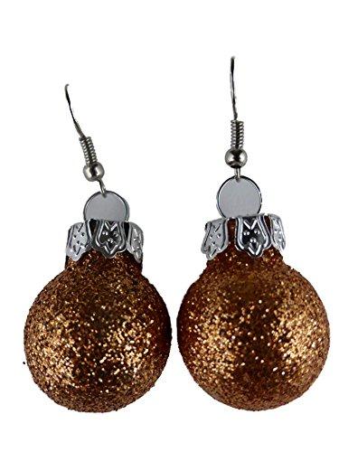 Handgemacht Weihnachtschmuck Ohrringe Weihnachten Schmuck Hänger Christbaumkugel Weihnachtskugel Baumschmuck kupfer / orange mit Glitter K183
