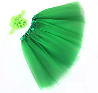 WOZOW Mädchen Tüllrock Einfarbig Blumen Stirnband Tanzkleid Minirock