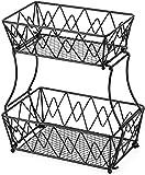 MOCHENG Cesta de fruta de 2 niveles, cesta de pan de metal negro, soporte de almacenamiento desmontable para pan, cesta de frutas y verduras