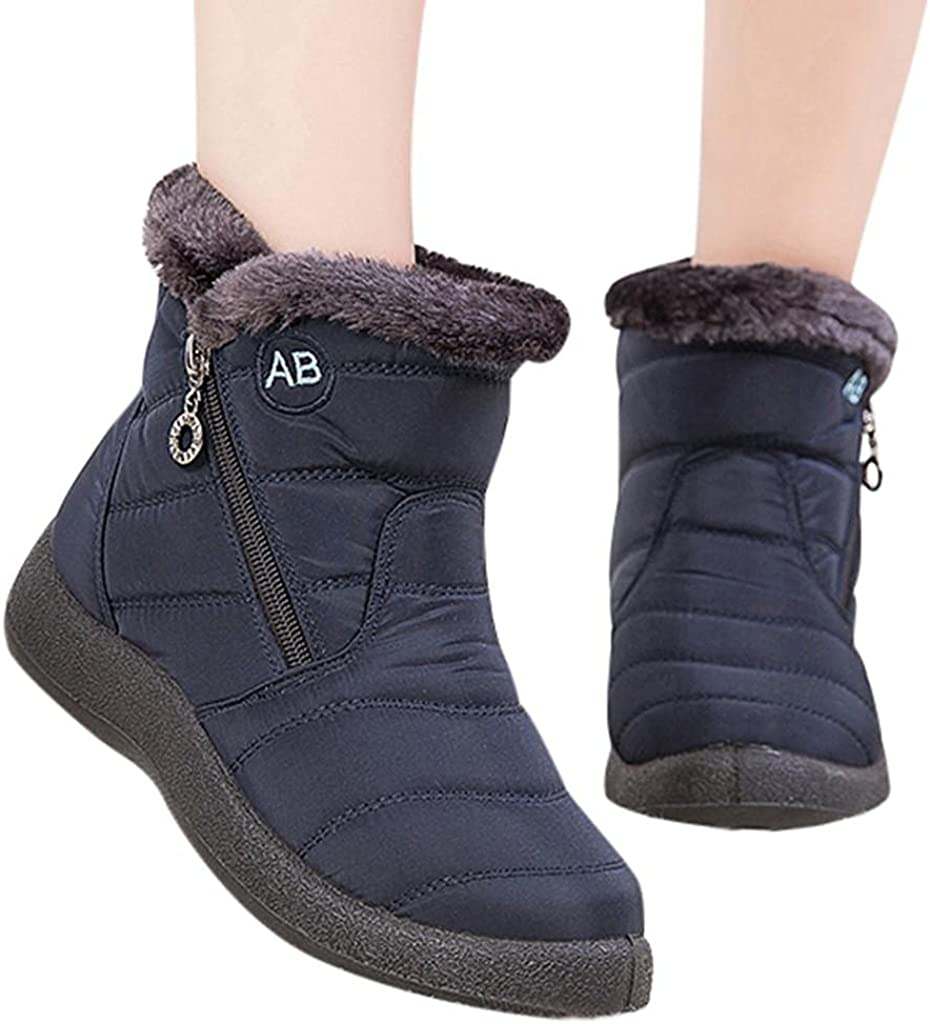 Snow Boots for Women,Waterproof Winter Platform Fashion Mid Calf Boots Warm Fur Lined Zip Up Winter Ankle Boots