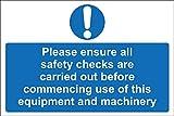 Señal de seguridad para catering por favor asegúrese de que todos los controles de seguridad son llevados a cabo antes de comenzar el uso de este equipo y maquinaria, 30 cm x 45 cm
