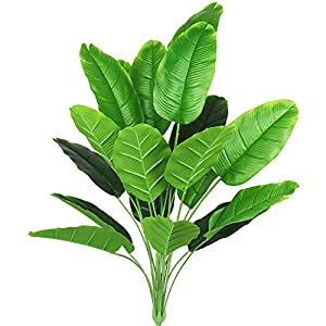 Artificial Plants 32″ Tall Fake Banana Tree Leaves with Stems Faux Bird of Paradise Palm Tree Imitation Frond Leaf Tropical Plants Greenery Floral Jungle Beach Party Home Garden Decoration (Green)