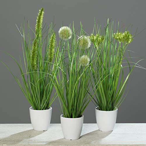mucplants Kunstpflanze Gras im weißen Topf 3 Stück Höhe 38cm Grün Kunstgras Ziergras Tischdekoration