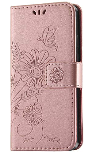 kazineer Hülle für iPhone 6 Plus/iPhone 6S Plus, Leder Tasche Handyhülle Kompatibel mit Apple iPhone 6 Plus iPhone 6S Plus Schutzhülle Brieftasche Etui Case (Pink-Gold)