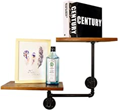 JUAN Retro industrial water pipe racks floating shelves wall mounted shelves solid wood decorative cube shelves wrought ir...