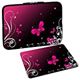 Pedea Design Schutzhülle Notebook Tasche bis 15,6 Zoll (39,6cm) mit Design Mauspad, Butterfly