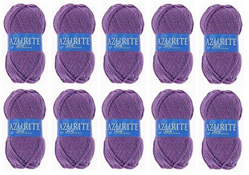 les colis noirs lcn Lot 10 Pelote de Laine Azurite 100% Acrylique Tricot Crochet Tricoter - Parme - 2622