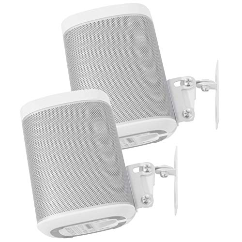 2 x SONOS Play 1 Wall Mount, Twin Pack, (NOT Compatible with SONOS ONE) Adjustable Swivel & Tilt Mechanism, 2 Brackets for Play:1 Speaker with Mounting Accessories, White