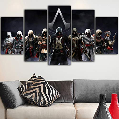 5 Piezas Juego Carteles Assassins Creed Pintura Negro Lona Arte Pared Imágenes para Sala Pintura Cuadro,A,25x40x2+25x60x1+25x50x2