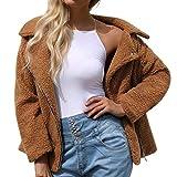 Innerternet Damen Casual Mantel Revers Faux Für Lose Langarm Outwear Tasche Reißverschluss Winterjacke Mode Kurz Coat