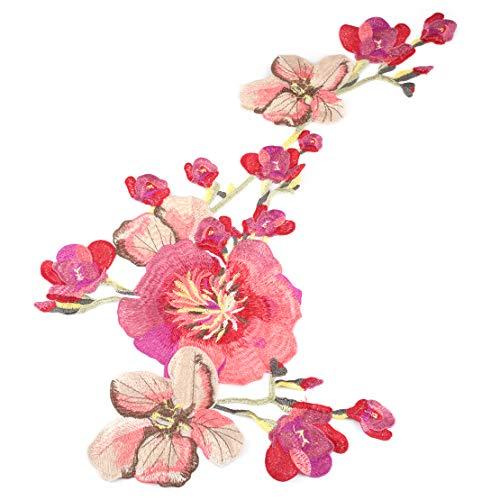 Autocollant de broderie de vêtements de fleur longue fleur bricolage coudre sur le tissu Taille: env.52x30,5 cm (20,47 x 12,01 pouces) (LxW)