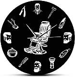 LKLFC Reloj de Pared Grande Silencioso sin tictac Logotipo de barbería sillón de barbero Reloj de Pared peluquería Equipo de peluquería Hombre barbero barbería Retro Reloj de Pared Negro Mudo Barrido