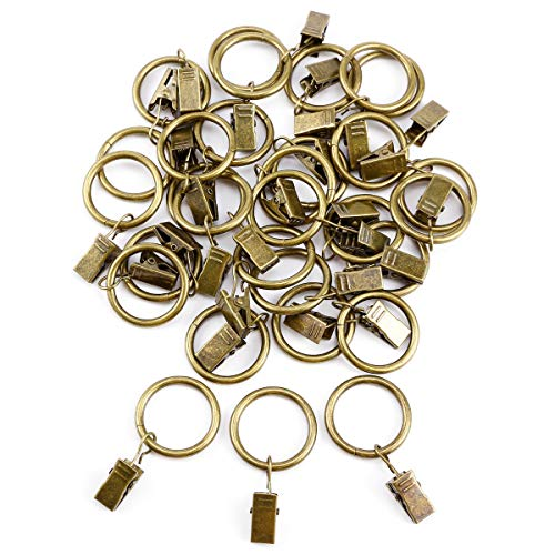 Anladia 30 STK. 25mm Durchmesser Mehrzweck Metall Vorhangringe Vorhang Clip Gardinenstange Gardinenringe Vorhangringe mit Clips Bronze