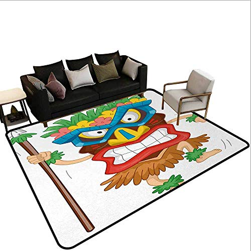 MsShe Conferentiekamer tapijt Tiki Bar,Aged Oude Frame Teken van Tiki Bar met Inspirational Quote Vrije tijd Reizen Print,Multi kleuren