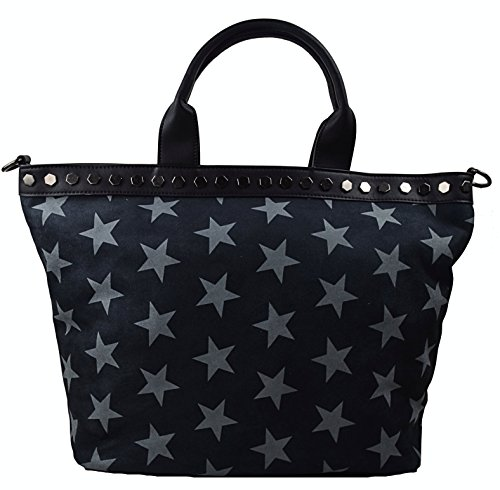 CAPRIUM Shopper Handtasche Zeitlos mit Sternen, Schultertasche, Umhängetasche, Damen 000019 (Schwarz)