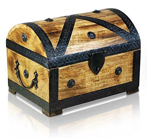 Brynnberg Schatztruhe Holztruhe Schatzkiste Piraten Holz massiv Schatulle Holz Piratentruhe (Pirat L 28x20x20cm)