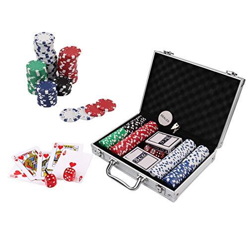 Doublefan Poker Chips Set, 200ct,11.5 Gram Clay Poker Chips Set Texas Holdem Blackjack Gambling Chips Aluminum Case (200pcs)
