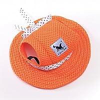 犬の帽子 メッシュキャップ ベルト付きプリンセスハット キャップ 〜と 耳穴 ために 小さな犬 (S, オレンジ)