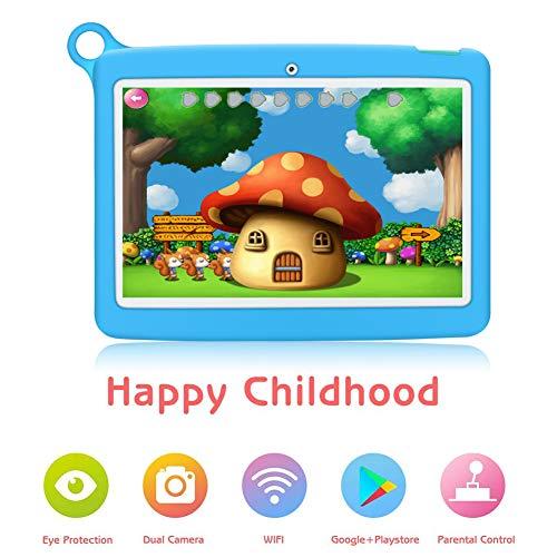 Kinder Tablet 10 Zoll Padgene Android 8.1 Kindertablet Lerntablet für Kids, Mit Kindersicherungsmodus 2 GB RAM + 32 GB ROM IPS Touchscreen 2G/3G/WiFi Bluetooth Kindertablet-Hülle(Blau)
