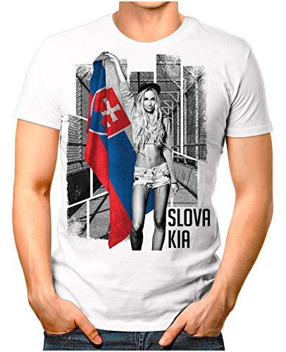 OM3® - Slovakia-Soccer-Girl - Herren T-Shirt EM 2020 Fußball Trikot Sexy Frau Slowakei Vintage Weiß 4XL