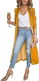 neveraway Women's Lapel Cardigan Autumn Longline Gold Velvet Trench Coat