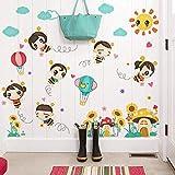 GAOF Pegatinas de Papel tapiz de habitación de niños de dibujos animados Pegatinas de refrigerador de abeja Linda Pegatinas de pared decorativas de cabecera de dormitorio de bebé
