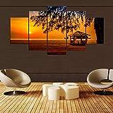 HD Gedruckt Modulare Bilder Leinwand 5 Panel Sunset Beach Pavillon Landschaftsmalerei Für Room Home Wandkunst Dekor40x60cmx2 40x80cmx2 40x100cmx1