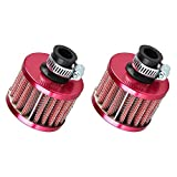 ESUPPORT 2 X 12mm Mini Red Universal Car Motor Cone Cold Clean Air Intake Filter Turbo Ven...