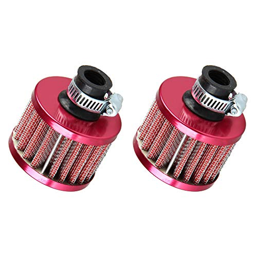 ESUPPORT 2 X 12mm Mini Red Universal Car Motor Cone Cold Clean Air Intake Filter Turbo Vent Breather