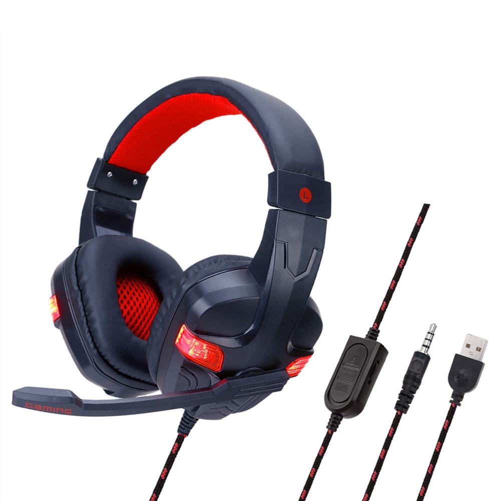 Auriculares Cascos, Auriculares con cable, con 3.5mm Reducción de Sonido Estéreo, para PS4 / PC/Xbox One (Tiene un Adaptador 2 en 1) Azul,Red: Amazon.es: Hogar