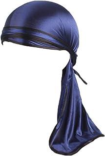 Mwfus Silky Durag Do Doo Rag Long-Tail Pirate Cap Hats Cancer Chemo Headwrap Beanie Bandana Hats for Women Men