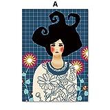JHGJHK Exquisite Farbe abstrakte Mode Retro Mädchen Haar