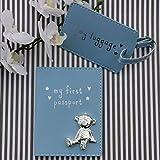 Button Corner WBM-GFT23 Blau Mein Erster Pass & My Kofferanhänger Geschenkset mit metall teddy icon - Baby Geschenk, transparent, 200 g