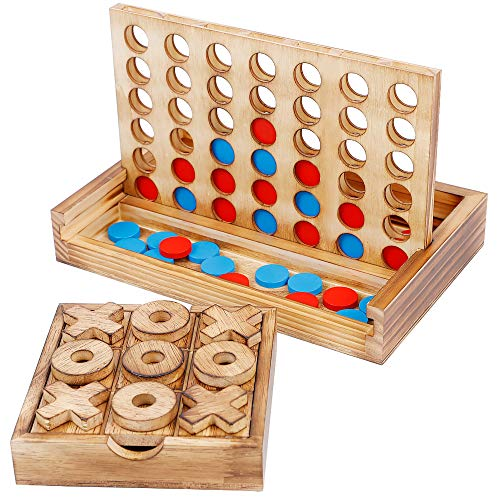 Glintoper Tic Tac Toe & 4 in a Row Tables Game Set, Classic Board Line Up 4 Game for Living Room...