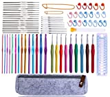 72 Pcs Crochet Hooks Set, Crochet Hooks Kit Plus Large Eye Blunt Needles Ergonomic Yarn Kn...