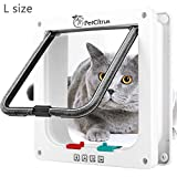 PetCitrus Cat Door - Large (Outer Size 9.2' X 9.8') 4 Way Locking - Cat Doors For Interior Doors - Pet Door for Small Dog with Circumference Shorter Than 23' - Weather-Resistant - Magnetic Closure