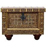 Orientalische Truhe Kiste aus Holz Amitab - 80cm groß | Vintage Sitzbank mit Aufbewahrung für den Flur | Aufbewahrungsbox mit Deckel im Bad | Betttruhe als Kissenbox oder Deko im...