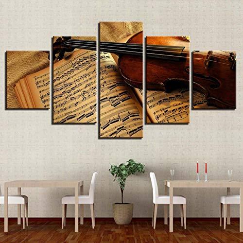 PrintWUHUA Cuadros De Salon Decoracionfoto De Partituras De Violín De Estilo Retro Cuadros Dormitorios Modernos 5 Partes (W) 150Cmx(H) 80Cm