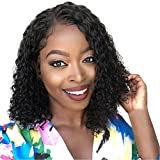 AMUSTER Synthetische Perücke Afro Kurz verworrene lockige Haar Synthetic Lose wellenförmige Textur Faser für Damen Fashion afrikanische Frisur Schwarz (35cm, Schwarz)