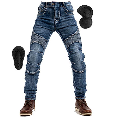 RENHE バイクパンツ メンズ ライディングパンツ プロテクター付き メンズデニムパンツ オールシーズン ライダースパンツ 耐磨 ツーリングジーンズ ストレッチ素材 ブルー1 EU Sサイズ=JP Mサイズ
