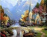 JASIOHCDS DIY Pintura al óleoPintura por Kit numérico - Exótico (Thomas Kinkade The Mountain Chapel)Inch-A