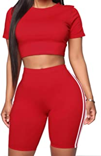 Women Sexy Sports Suit Set Short Sleeve Crop Top Shorts Pant Set 2 Piece Outfits Yoga Sports High Waist Tracksuit Set