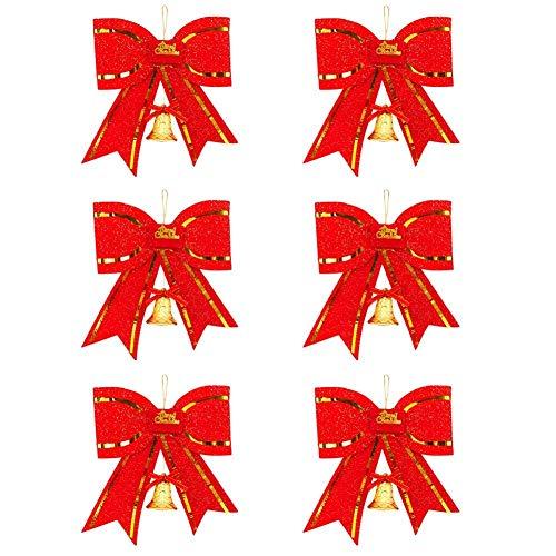 Kentop 6Stk Weihnachtsbaumschmuck Weihnachtsglocken Weihnachten Schleifen Rot aus PVC Material 8 cm breit