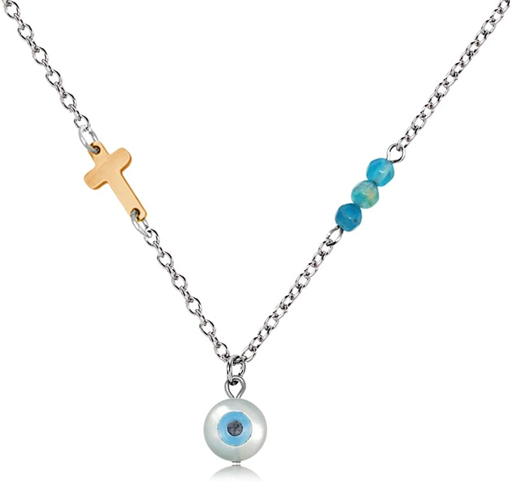 YOUCANDOIT2 Handmade Three Element Stainless Steel Cross Blue Natural Agate Stone CZ Zircon Evil Eye Pendant Necklace for Woman Girl