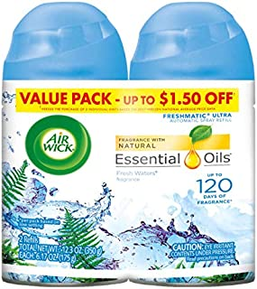 Air Wick Pure Freshmatic 2 Refills Automatic Spray, Fresh Waters, (2x5.89 oz), Air Freshener, Essential Oil, Odor Neutralization, Packaging May Vary
